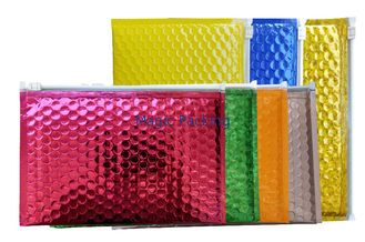 Multi - Function Zipper Bubble Bags Custom A5 Pink Metallized Film Holographic Padded Mailing Envelopes
